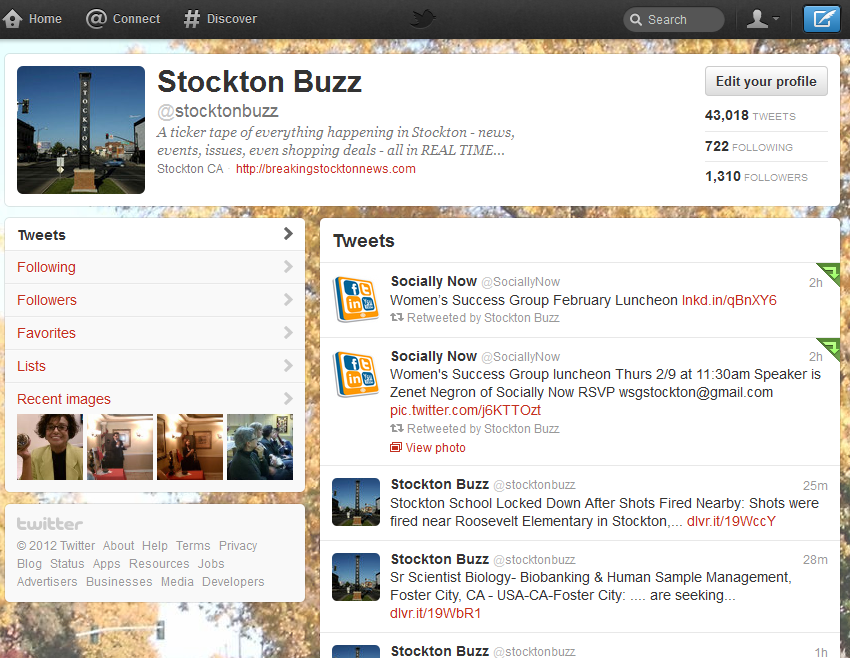 StocktonBuzz Twitter with posting of Women's Success Group Social Media presentation announcement